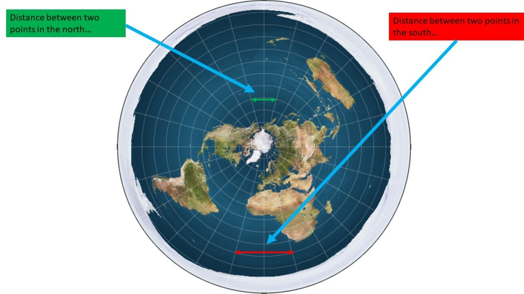 Flat Earth South distance 13